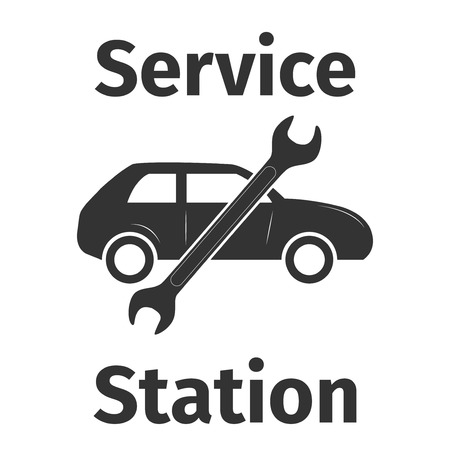 tailpipe: Service station banner, vector illustration