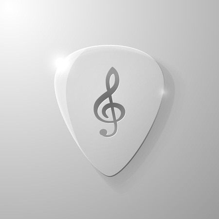 mediator: Treble clef silhouette on a glass plectrum, vector illustration