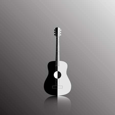 mediator: Acoustic guitar in black and white color, vector illustration