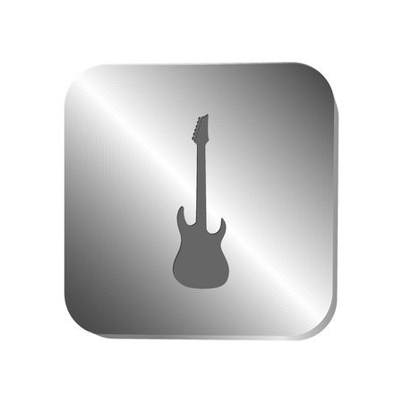 mediator: Guitar silhouette icon on a metal button, vector illustration