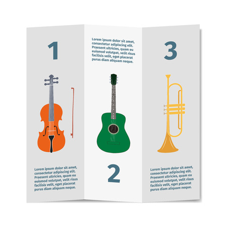 mediator: Advertising card with violin, guitar and trumpet, vector illustration