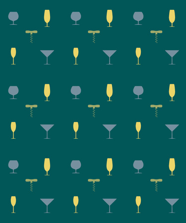 uncork: Bottle screw and wine glass seamless pattern, vector illustration
