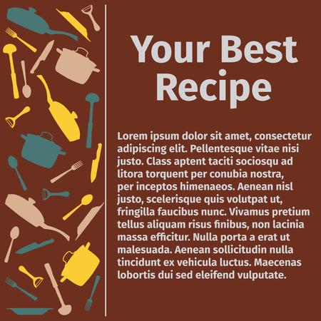 kulinarne: Szablon do przepisu kulinarnego, ilustracji wektorowych
