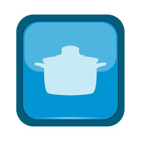 saucepan: Saucepan on a blue button Illustration