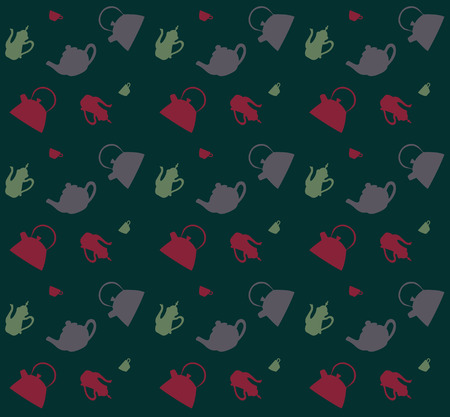 kettles: Patrón de diferentes teteras sobre un fondo gris, ilustración vectorial