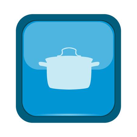 blue button: Saucepan on a blue button Illustration