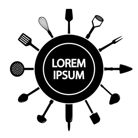 utencilios de cocina: tarjeta de publicidad con utensilios de cocina, ilustración vectorial Vectores