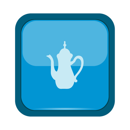 drinking coffee: Coffee pot icon on a blue button