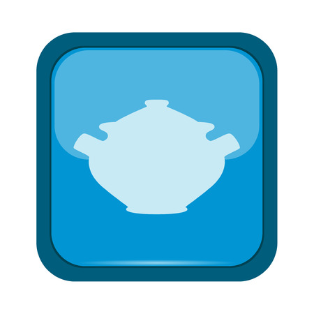 stainless steel pot: Saucepan icon on a blue button