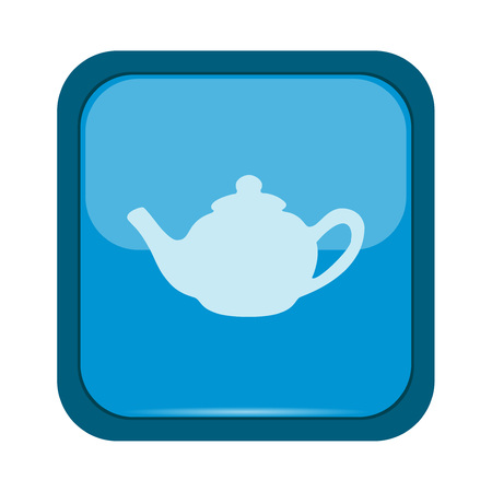 stainless steel pot: Kettle icon on a blue button Illustration