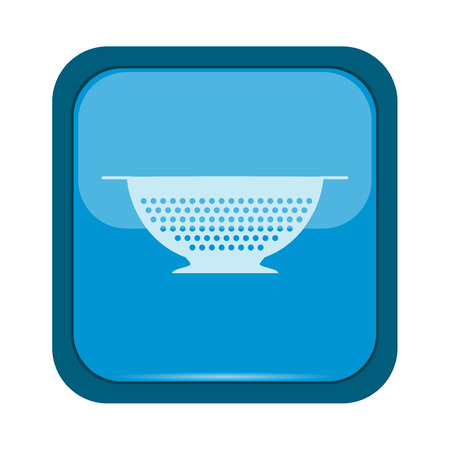 percolate: Colander icon on a blue background