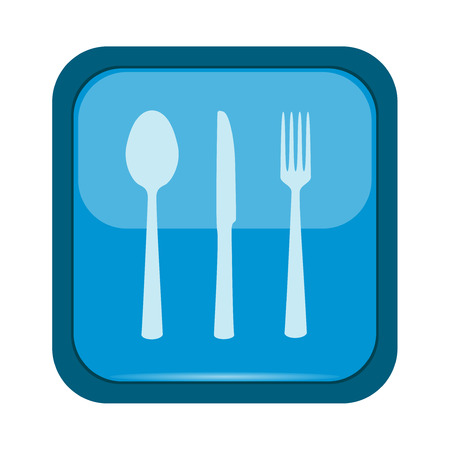 spoon fork: Spoon, fork and knife on a blue button Illustration