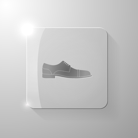 black shoe: Black shoe on a glass square, vector illustration