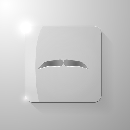 style goatee: Black mustache on a glass square, vector illustration