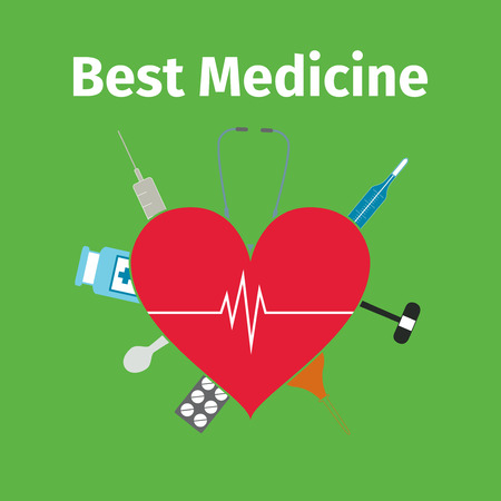doctor tablet: Advertising card for medicine, vector illustration
