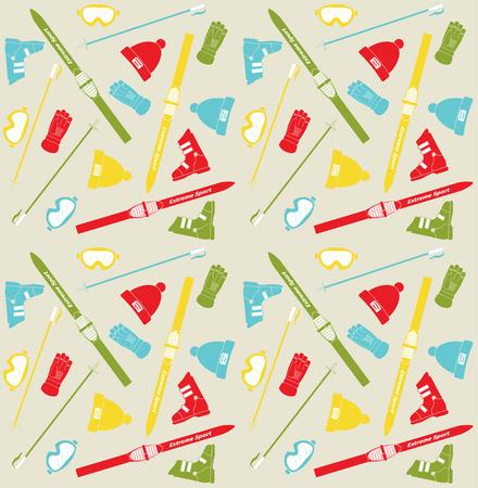 SKI: Pattern with skis and sticks, vector illustration Illustration