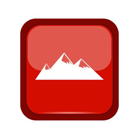 mountaintop: Mountain icon on a red button, vector illustration