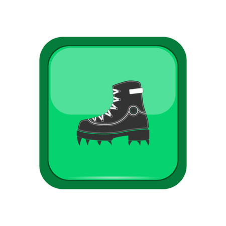 sport shoe: Climber boot on a green button, vector illustration Illustration