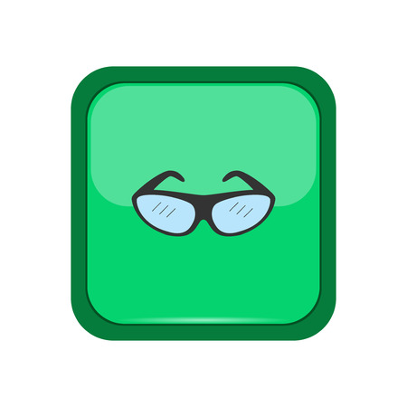 spectacle frame: Climber eyeglasses on a green button, vector illustration Illustration