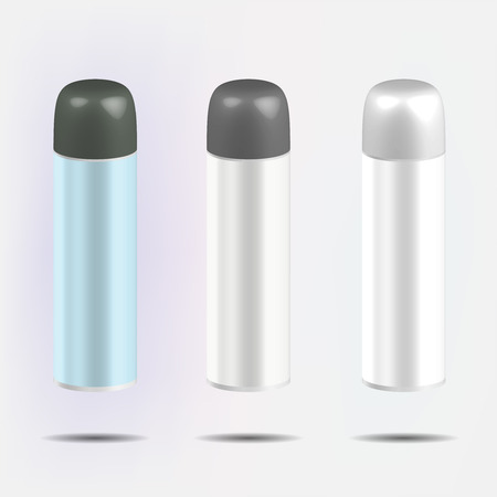 cosmetician: Cosmetic bottles for foam or hair spray, vector illustration