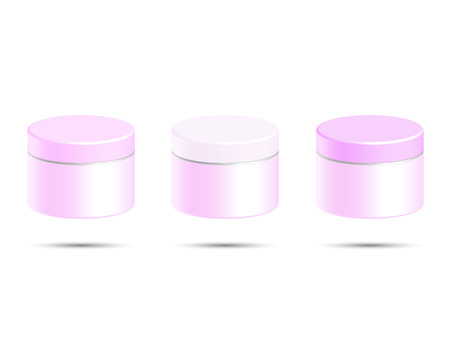 cosmetic bottle: Cosmetic bottle for cream, gel, powder, pink color, vector illustration
