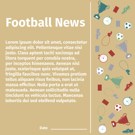 uniform green shoe: Football card for advertising or news, illustration