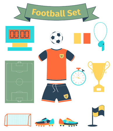 goal cage: Football icons set, illustration