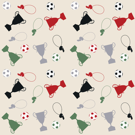 goal cage: Seamless pattern with balls and cups, illustration