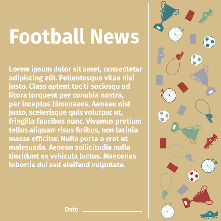 uniform green shoe: Football card for advertising or news, illustration
