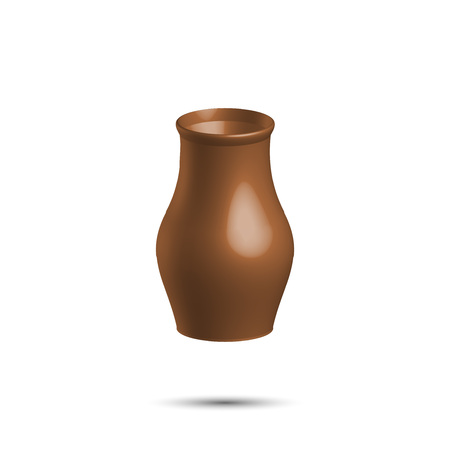 potter: Realistic clay pot, brown color, illustration