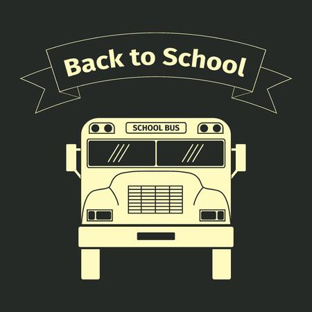 school bus: School bus, black color, vector illustration