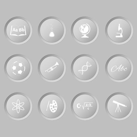 spelling book: School lessons icon on a white buttons, vector illustration