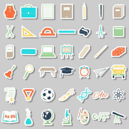 School accessories icons set, stickers style, vector illustration