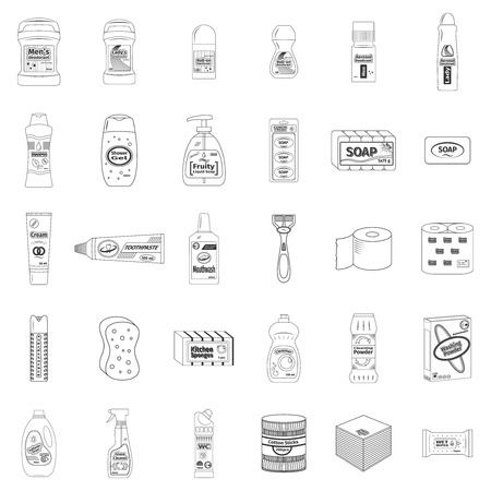 cleanser: Cleanser and washing line icons set, vector illustration