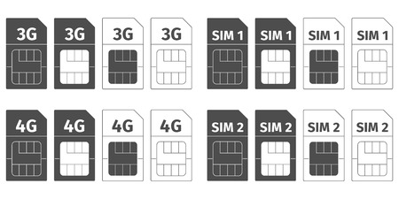 Simcard icons set, vector illustration