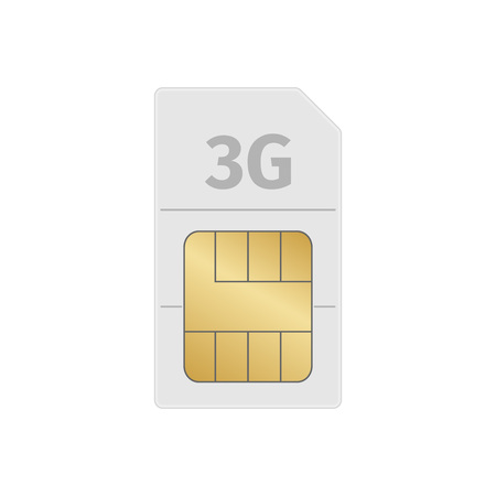 Sim card on a white background with shadow, vector illustration