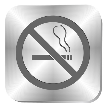 smoldering cigarette: No smoking sign on a metal button, vector illustration