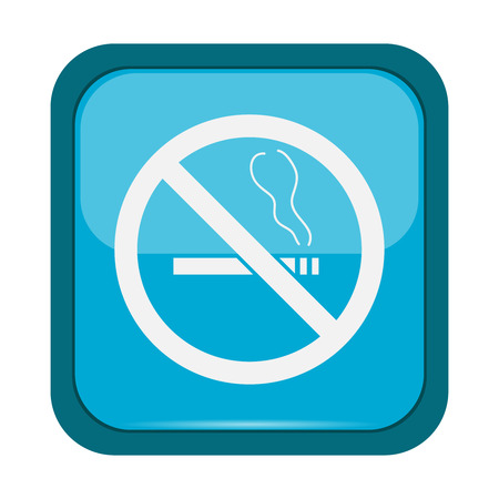pernicious habit: No smoking sign on a blue button, vector illustration