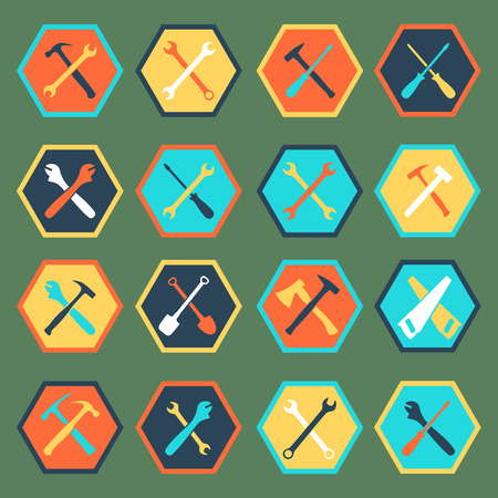 machinist: Tools icon silhouette set with flat shadow, vector illustration