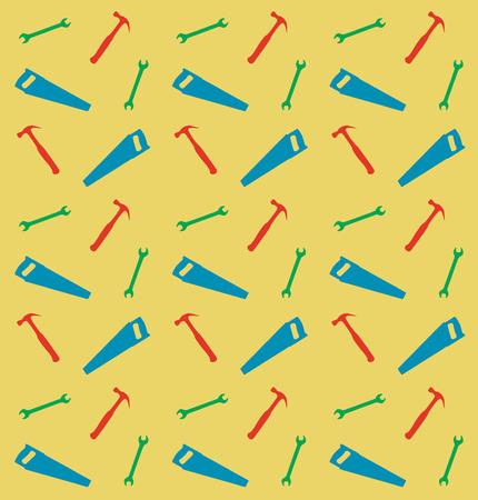pruner: Pattern of spanner, saw and hummer, vector illustration Illustration