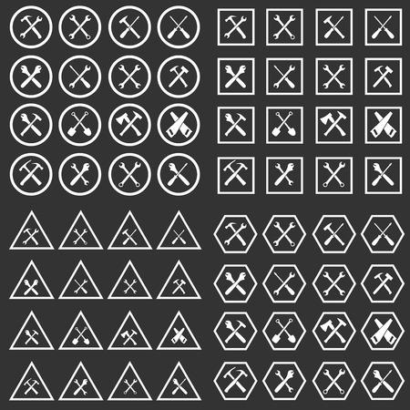 machinist: Tools icon silhouette set, vector illustration