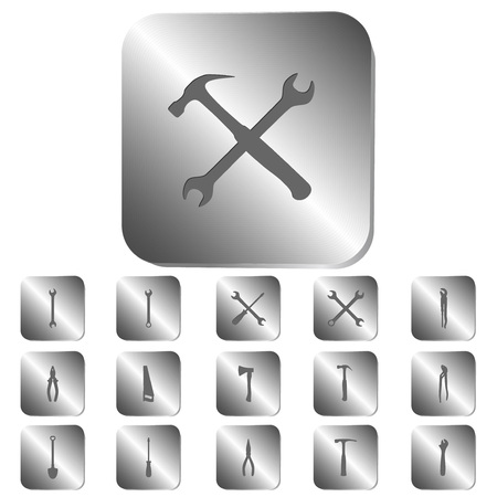 steel button: Tools icons on a steel button, vector illustration