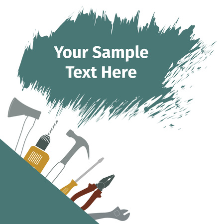 machinist: Advertising card with different tools, vector illustration Illustration