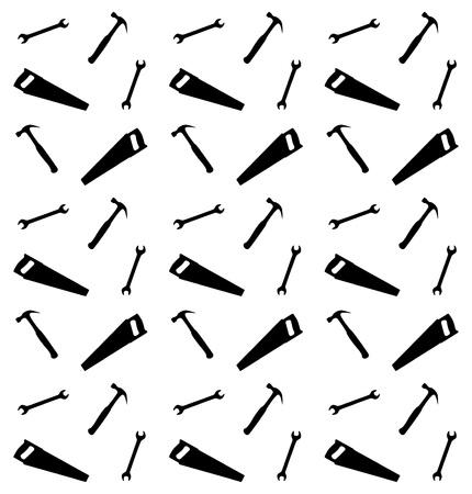 hummer: Pattern of spanner, saw and hummer, vector illustration Illustration