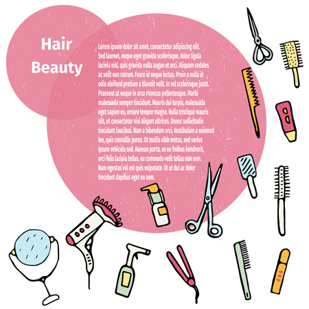 hairstylist: Hand drawn card hair care products.Beauty vector illustration. Illustration