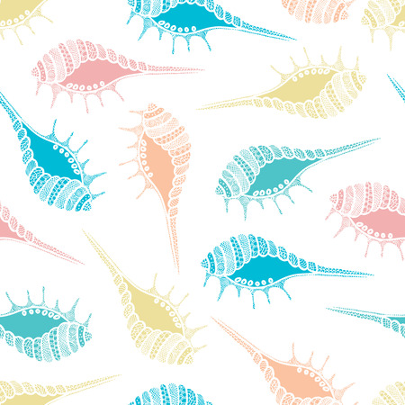 seashell: Wonderful vector seamless pattern of seashells. Bright set painted by hand. To use postcards, greetings, prints on textiles and other creative products.