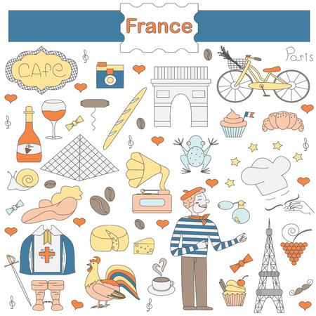 france: A set of thematic elements of France, such as the Musketeers, a rooster, a baguette, croissant, cook, and more. Vector illustration of Pariss attractions. Figure in style hand-drawing.