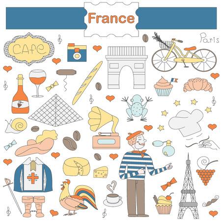mosquetero: Un conjunto de elementos temáticos de Francia, como los mosqueteros, un gallo, una barra de pan, croissant, cocinero, y más. Ilustración vectorial de las atracciones de París. Figura en el estilo de dibujo a mano.