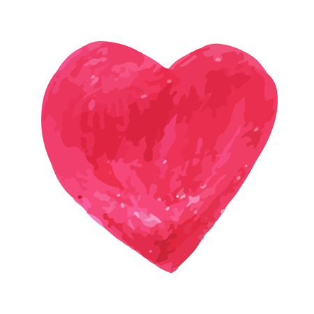 Hand-drawn pencil sketch. Bright red  heart  for invitations, cards, web sites, design.