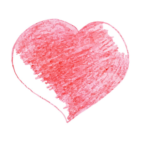 delineate: Hand-drawn pencil sketch. Bright red  heart  for invitations, cards, web sites, design.
